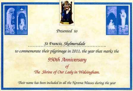 Walsingham certificate